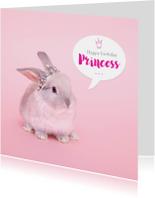 Verjaardagskaarten - Verjaardagskaart - Konijn prinses