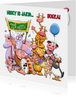 Verjaardagskaart met allemaal grappige dieren