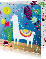 Verjaardagskaart met alpaca, taart en slingers
