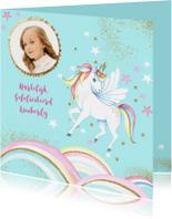 Verjaardagskaart met een hippe unicorn