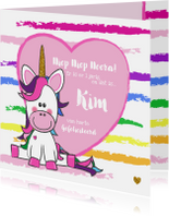 Verjaardagskaarten - Verjaardagskaart met een vrolijke unicorn