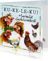Verjaardagskaart met hanen: Ku-ke-le-ku!