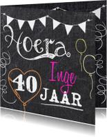 Verjaardagskaart met leeftijd en krijtbord