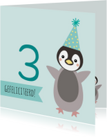 Verjaardagskaart met pinguïn met feesthoed