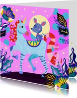 Verjaardagskaart met vrolijke unicorn en hondje