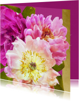Verjaardagskaart pioenrozen boeket roze