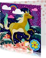 Verjaardagskaart unicorn fantasiewereld