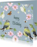 Verjaardagskaart vogels bloemen