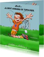 Verjaardagskaart voor voetballende jongen rond de 9 jaar