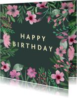 Verjaardagskaart waterverf roze
