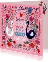 Verjaardagskaarten - Verjaardagskaart zwanen en bloemen