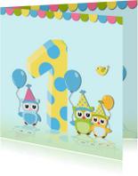 Verjaarkaart uil met ballonnen
