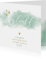 Verlovingskaart met waterverf en gouden hartjes