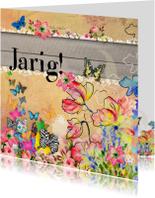 Verjaardagskaarten - Vlinders en bloemen verjaardags
