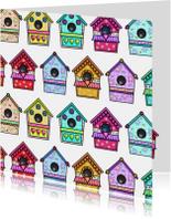 Vogelhuisjes kleuren vierkant