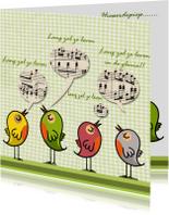 Vogelkaart met noten en tekst