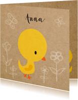 Geboortekaartjes - Vogeltje geel meisje