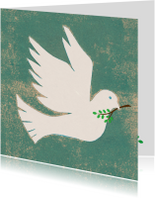 Religie kaarten - vredes duif vierkant