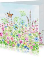 Vrolijke bloemenweide met vlinders