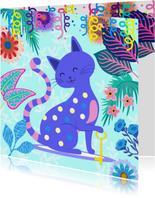 Vrolijke Housewarming uitnodiging met kat en bloemen