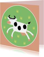 Vrolijke koe in wei
