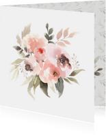 Bloemenkaarten - Watercolor Boeket in pastel
