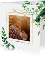Wedding Trouwkaart Stijlvol wit met goud