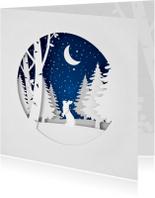 Kerstkaarten - Winterse kerstkaart uitgeknipt papier