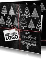 Zakelijke kerstkaarten - YVON kerstbomen logo krijtbord
