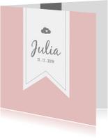 Geboortekaartjes - Zachtroze geboortekaartje met label