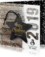 Zakelijke kerstkaart hout 2019 label ster