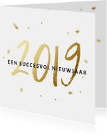 Zakelijke kerstkaart met 2019 in goudlook