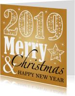 Zakelijke kerstkaart typografie goud 2019