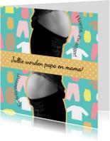 Felicitatiekaarten - Zwangere buik zeeblauw