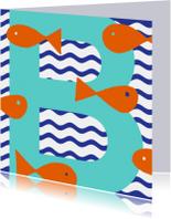 Geslaagd kaarten - Zwemdiploma B met vissen