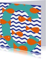 Geslaagd kaarten - Zwemdiploma C met vissen