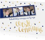 Bedankkaart Communie fotostrip confetti blauw