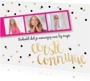 Bedankkaart Communie fotostrip confetti roze