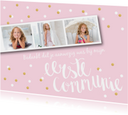 Bedankkaart communie pastel fotostrip confetti