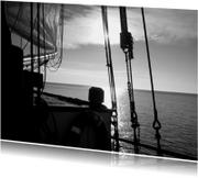 Condoleancekaarten - Boot met zonsondergang op rustig water