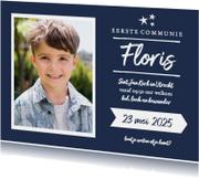 Communie - jongen uitnodiging foto