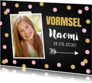 Communiekaart foto confetti roze goud