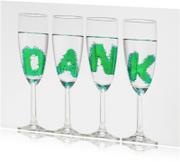 Bedankkaartjes - DANK in champagne glazen