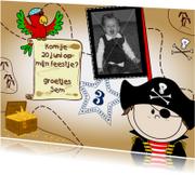 Foto uitnodiging Piraat en papegaai