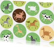 Kinderkaarten - giraf-zebra-kameel-kinderboerderij