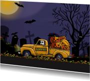 Halloweenkaart auto met pompoen