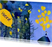 Felicitatiekaarten - Hoera kaart met Ballonnen
