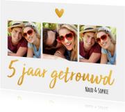 Jubileumkaart 5 jaar getrouwd goud fotocollage