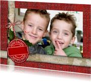 Kerstkaarten - kerst rood label hulst YVON