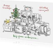 Kerstkaarten - Kerst verhuiskaart met katten